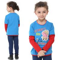 cartoon peppa geroge pig graphic T-shirts,fashion baby kids boys long sleeve tops tees,children spring autumn clothing 2T/6years