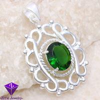 SP0008 filigree pendant brand new flower necklace green women charm flower green peridot topaz women 925 silver Necklace pendant