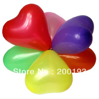 Free Shipping 110pcs/lot Heart Shap Latex balloons for Party and Wedding Decoration(Random mix send various colors)