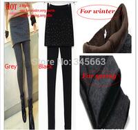 Hot Selling Grey Black False Two-piece Legging Pantskirt Women's Fashion Leggings Winter Warm/Spring Legging with Cute Round Dot