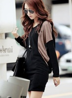 Autumn Womens Fashion Casual Color Block Batwing Long Sleeve Sweater Dress New Free Shipping