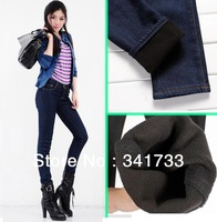 New winter women's thick Pants jeans/warm ladies' fleece pants/pencil skinny legging pants good quality S~XXL trousers