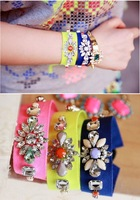 2014 Free Shipping Colorful Gems Fluorescent Yarn-dyed Jewelery Items For Women/Girls Bracelets#BR007