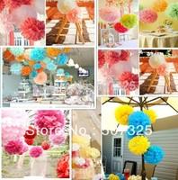 Hot Selling! 120pcs -  10'' Paper Pom Pom Pompoms Tissue Wedding Decoratons Party Poms Home Decor, 25 Colors To Pick