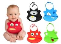 Free shipping Cartoon Silicone baby bib pocket/ super soft silicone waterproof bib 5PCS/LOT D263