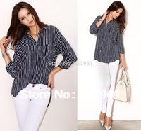 2014 New Fashion Women brand 3/4 Sleeve Casual Striped Cotton Summer-Winter-Autumn Brand Shirts Free Shipping #29