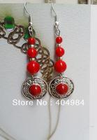 FREE SHIPPING National trend miao silver drop earring stone pine long design