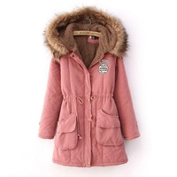 Thickening female with a hood tooling wadded jacket women's thermal fur collar berber fleece winter overcoat plus size