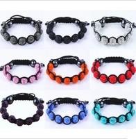 Fashion Shamballa Jewelry New  Mix Colors Sales Promotion 10mm Crystal AB Clay Disco Ball Shamballa Bracelets & Bangles C0125