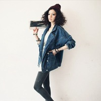 2014 New Women Vintage Denim Jacket Europe&America Style Woman Batwing Sleeve Outwear Autumn Jean Big Down Collar Coat  nz164