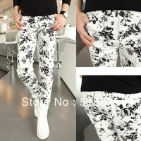 Free shipping! Hot fashion  autumn slim male fashion slim ink print skinny pants performance wear