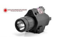 1PC New Arrival 200 Lumen 650nm Tactical Laser Flashlight & 5mw Red Laser gun Sight(BOB JGSD) + Free Shipping