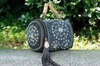 New Wholesale Women's Uinque Messenger Bag Barrel-shaped Handbag Diamond Rivet PU Leather Jean Woven Tassel Brand High quality