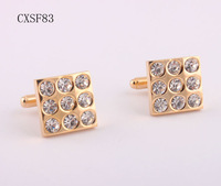 sale Free Shipping fashion gold plated men's cufflinks men square diamonds cuff links 2013 new shirt jewelry for mens Cuff links