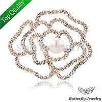 2014 Fashion Hollow Rose Flower Brooch 18K Gold Plated Shiny Austrian Crystal Imitation Pearl Brooch Women Jewelry