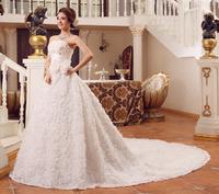 2014new Wedding dress tube top train wedding dress bandage lacing slim princess wedding dress Bra Wedding Gown