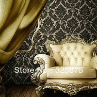 Free shipping velvet wallpaper 0.5m width paper roll damask wallpaper roll patterns soudnproof wallpaper black wall decoration