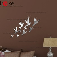10pcs pigeons birds mirror wall sticker,frame, wall stickers luxury home decoration best gift home!Free shipping!