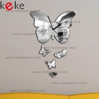 30x24cm big butterflies wall clock mirror wall clock,3d crystal mirror wall wall clocks,3butterflies total.