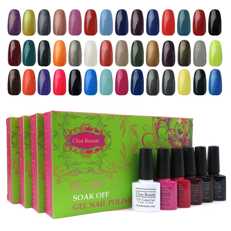 Clou Beaute Any 6 Colors 8ml Nail Art Gift Manicure Set Base Foundation Top Coat Soak Off UV Led Shellac Color Nail Gel Polish(China (Mainland))