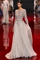 Elie Saab New Style Jewel Custom Made Beaded Chiffon A-Line Long Sleeves Formal Long Prom Evening Dresses 2014