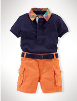 Branded baby clothes/2-piece set: Polo shirts with turn-down collar+ short pants/2013 new arrival