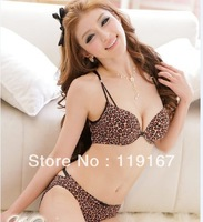 Hot-selling front button leopard print sexy young girl bra set leopard print underwear push up bra retails & wholesales