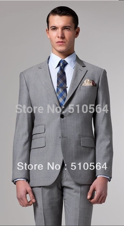 Herringbone Suit Business Gray Herringbone Suit