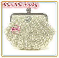 2014 Latest Women Beads Handbag. Duplex Full Pearl Clutches Evening Bags. Alloy Diamond Hasp Long Chain Shoulder Crossbody