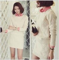 Free shipping! 2013 autumn winter fashion casual yarn sweater skirt suit set women sweaters knitted shirts sweatshirts A296