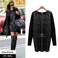 2013 Autumn New Brand Women's Long Sleeve T Shirt  Black Fashion Plus Size Lace Blouse M-4XL Shirt for Women DFWB-021