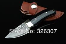 Damascus Little Dark thumb small straight knife pocket knife folding knife Jungle Survival