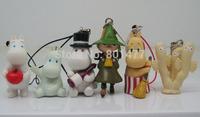 6pcs Moomin Valley Snufkin Floren Hippo Figure Cell Phone Strap FSM5,free shipping