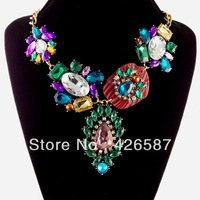 New york colorful resin crystal statement necklace exaggerated big brand choker chunky necklace green and purple style