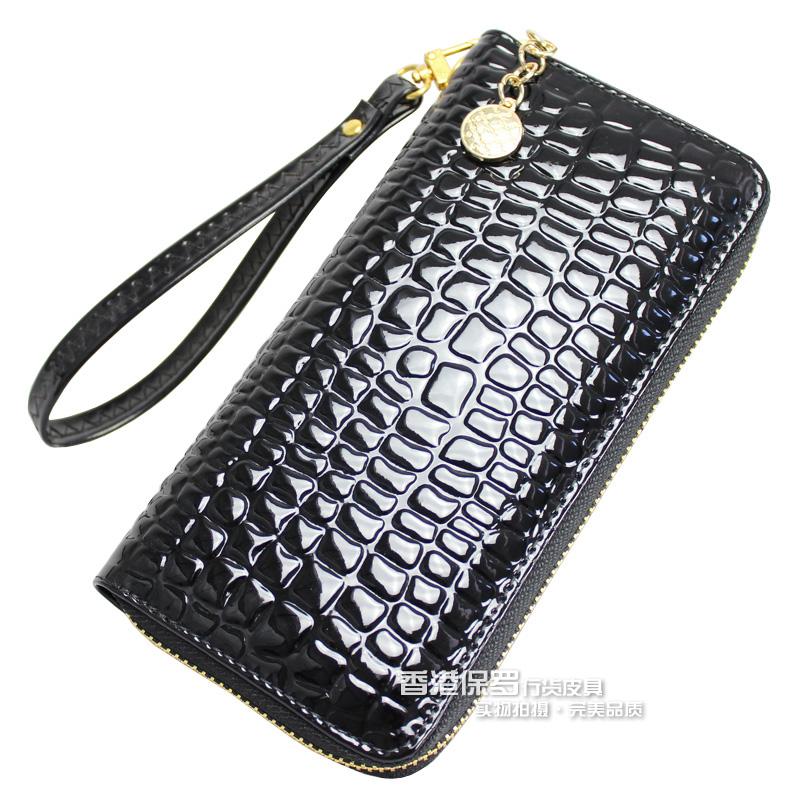 Japanned leather women's long design wallet wallet women's clutch women's handbag zipper bag(China (Mainland))