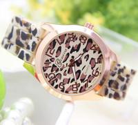 12 colors New Fashion leopard watch Silicone GENEVA Watch For Women Dress Watch Quartz Watches 1pcs/lot