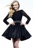 Black dress sexy lace deep V-neck racerback long-sleeve princess dress design short formal dress free shipping