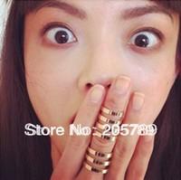 Min.Order $15(can mix item) 2013 hot fashion punk hollow men& women's gold/silver polish metal knuckle finger rings 2pcs/set