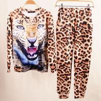 HOT SALE! 2015 Autumn Winter Women Set Casual Animal Leopard Tiger 3D Print Sport Sweatshirts Fashion Sports Suit For Women