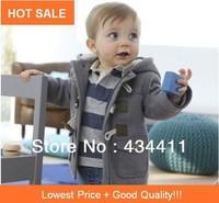 Hot SALE 2013winter Fashion Forn Button Child Thickening Outerwear Overcoat Male Children Outerwear Boy Jacket Retail Baby Coat