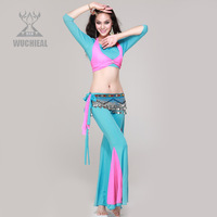 2014 New Three-quarter Sleeve Spandex Mesh 2 Pics Top&Pants Belly Dance Costume,9 Colors TP 1400