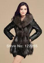 Free shipping 2013 new arrival womens fox fur collar genuine sheepskin leather jacket ,warm wadded coat M ~ XXXL