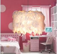 Modern brief fashion romantic decoration child small single head white feather pendent lamp droplight
