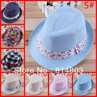 Mixed 9 Designs Baby Straw Hat Fedoras Children Summer Hat Kids Jazz Cap Boys Girls Fedora hat Dicers Caps 10pcs/lot S-HT005