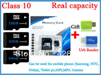 real capacity class10 5pcs/lot TF card micro sd card memory card 16GB 32GB 64GB with USB reader free shipping