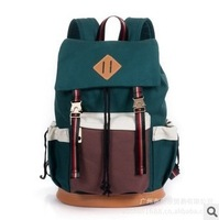The new 2013 men and women canvas bag that candy colors canvas backpack han edition of wave packet