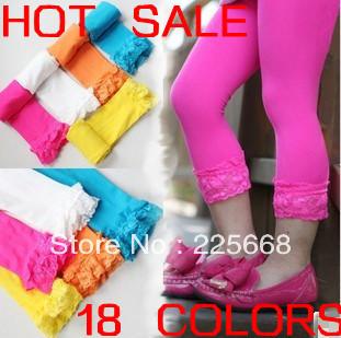 Wholesale 20 pcs/lot Baby girl velvet legging Kids candy color lace pants Children summer autumn skinny leggings DropShipping(China (Mainland))