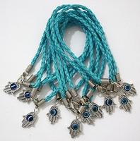 "Lot - 100Pcs HAMSA HAND ""Evil Eye"" Light Blue String Bracelets - Lucky Charm Pendant 01763"