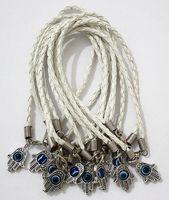 "Lot - 100Pcs HAMSA HAND ""Evil Eye""  White String Bracelets - Lucky Charm Pendant 01764"