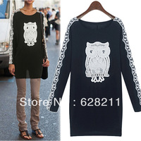 Fashion 2013 fashion owl patchwork lace long-sleeve slim shirt basic skirt